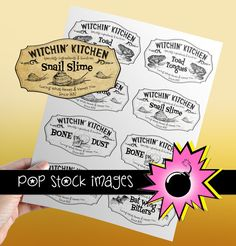 Check out Scary Halloween Apothecary Labels by popstock on Creative Market - straight from the well-stocked pantry of the Witchin' Kitchen!  Just $4.00