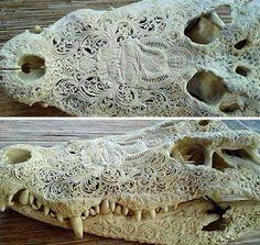Carved alligator skull…