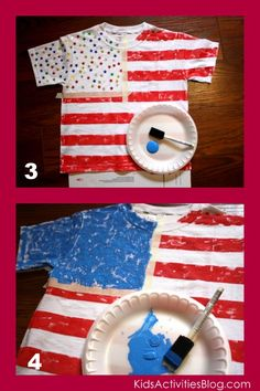 4th of July Flag Shirt Tutorial. Made these last year--super easy and the kids LOVE them! They had fun placing the stars, some in circles, some in the traditional pattern, some all over. Don't put the paint on too thick!