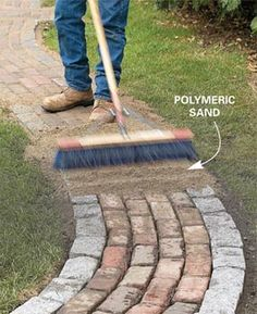Special polymeric sand binds together when wetted.  Great tips here!Gotta do ths for the walk way.