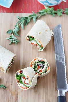 Chicken Pinwheel Sandwich Recipe with Roasted Red Pepper, Kalamata Olives & Herb Yogurt....use whole wheat tortillas and you've got a healthy lunch!