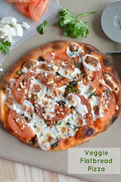 Easy Veggie Flat Bread Pizza using Naan bread, feta cheese, mozzarella cheese and tomato