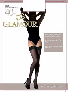 Black Thigh High Stockings Glamour 40 den semi opaque