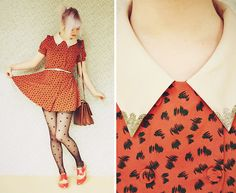 Orange, Red & Polka Dots (by Annika Victoria) http://lookbook.nu/look/3832325-Orange-Red-Polka-Dots polka dots, orang, dress, outfit, bake soda, penni, baking, tight, bags