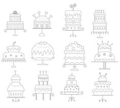 Cakes Embroidery Pattern 3. $3.00, via Etsy.