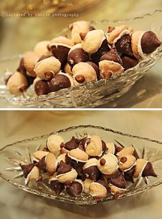 """""""acorns"""" made of chocolate kisses, small sugar cookies, and cinnamon chips"""
