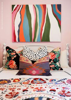 jamie meares color mix, bedroom fun, pattern mixing, jami mear, pillow patterns, mixed patterns, art, mixing patterns bedroom decor, furbish studio