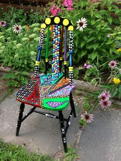 Cat painted chair