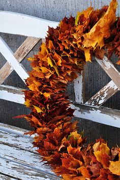"""amazing leaf wreath - take a strong wire and bend it into a circle. """"inpale"""" the leaves in the wire. Fill it as full as you can. Bend the ends of the wire circle into hooks and hook onto each other to close the circle."""
