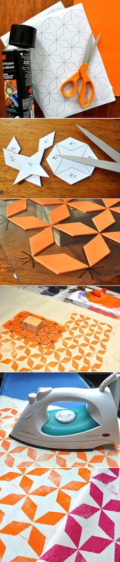 DIY :: simple block printing using craft foam ( http://flowerpress.blogspot.com.au/2012/06/foam-block-printing-tutorial.html#axzz295oniGAB )