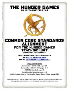 Free download for aligning the College and Career Readiness Common Core Standards for English/Language Arts with Hunger Games Teaching Unit
