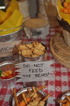 Do not feed the bears! at a Camping Party #camping #party  FOR TEMPLE -- @moxiethrift on etsy - Write DO NOT FEED THE SQUIRRELLS