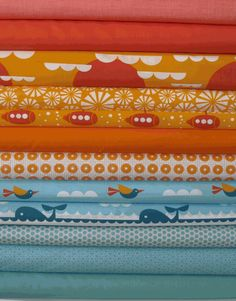 Would make the cutest quilt for any little ocean fans!  The colors so bright and cheerful too!