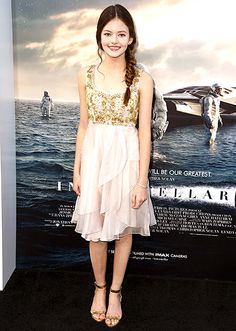 Mackenzie Foy looked adorable in a ballerina-inspired Marchesa dress and metallic sandals.