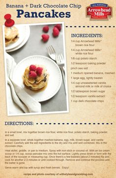 #Glutenfree Banana Chocolate Chip Pancakes Recipe