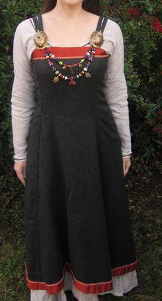 Hangeroc Wool Viking Apron Dress with Silk Trim - Custom Order. $150.00, via Etsy.