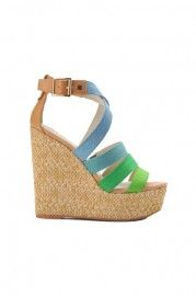 Blue Green Straps Wedge Sandals    $119.99  romwe.com