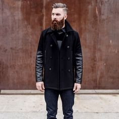 Levi Stocke - full thick darker red beard and mustache beards bearded man men mens' style leather denim hair hairstyle model fall winter fashion ginger #beardsforever