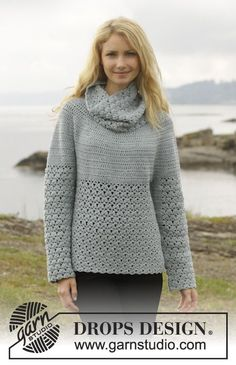 "Crochet DROPS jumper with lace pattern, round yoke and detachable collar, worked top down in ""Merino Extra Fine"". Size: S - XXXL. ~ DROPS De..."