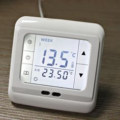 Thermostat with backlight touch LCD screen(display area size: 60 x 45 mm) by WMicro. $28.99. Description:       This Weekly Programmable Heating Thermostat with Touch Screen for underfloor heating system can loop on every week every day.It has the high reliability and powerful anti-jamming. The application is heating equipment: Water heating system or electric heating or actuator control.   Technical Data:   - Power Supply: 230VAC ±10% 50/60 Hz  - Maximum switch power: 3600W.  ...