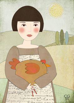 """Contemporary Folk Art Illustration - """"A Big Fat Hen"""" Children's Wall Decor Art Print - 5x7"""