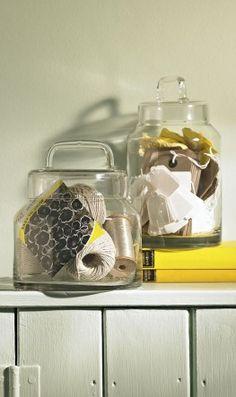 Glass jar.