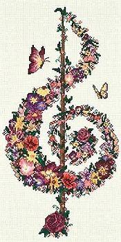 Treble clef cross stitch