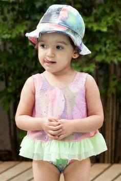 Aquarela Baby/Toddler One Piece - Lemons & Limes Kids Swimwear #babyonepiece #babyswimsuit #babyswimwear #colorfulbaby #tiedye #purple #pink #green