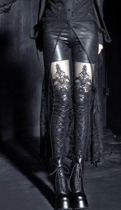 Punk Rave - Black Gothic Embossed Macbeth Leggings [K-144] - £31.99 : Gothic Clothing, Gothic Boots & Gothic Jewellery. New Rock Boots, goth clothing & goth jewellery. Goth boots and alternative clothing