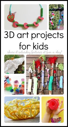 Over 20 3D art projects to try with the kiddos - Share It Saturday features at www.fun-a-day.com