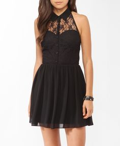 Buttoned Lace Halter Dress | FOREVER21 - 2000048296