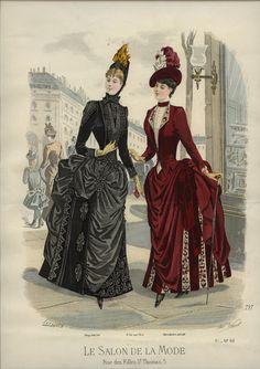 Gorgeous details on both the dresses. Le Salon de la Mode 1886