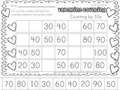 Valentine Counting by 2's, 3's, 5's, 10's. Freebie