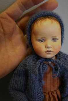 Pensive Child OOAK Art Doll by Susie McMahon.