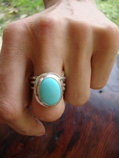 Large turquoise and silver ring.  Pretty & Chunky