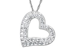 Wear your heart in the open with this shimmering jewel, sparkling with Swarovski crystals. A twinkling heart pendant crafted in sterling silver is decked with white crystals that will keep you glowing well into the night. Piece measures 5/8 by 5/8 inches. Comes with an 18-inch sterling silver curb chain.
