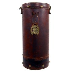 Antique English leather horse feed bucket 1900s