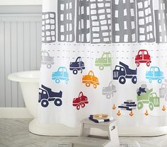 Transportation Shower Curtain. #potterybarnkids #spring2014