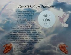 poems for dads | Dear Dad in Heaven Poem Memorial Gift for Loss of A Loved One ...