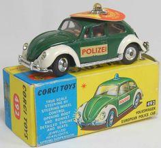 Vintage Corgi diecast Volkswagen 1200 Beetle Police Car #492 $200