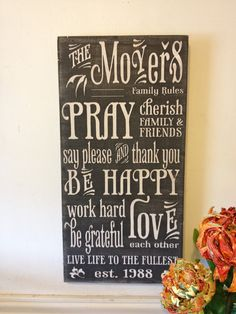 Family rules sign- vintage style lettering - chalkboard syle wood sign $55