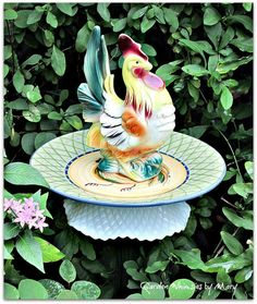 Fancy Rooster Garden Totem Stake  As by GardenWhimsiesByMary, $40.00