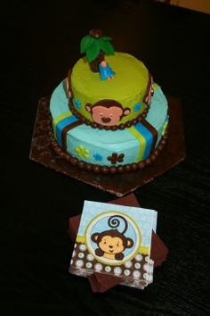 monkey baby shower cake - blue, green, brown