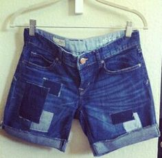 Patch jean shorts