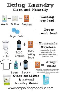 FREE printable for doing laundry clean and naturally by OrganizingMadeFun.com     #organize #laundry #natural #clean