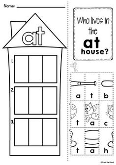 CVC WORD FAMILY WORKSHEETS - who lives in the at house? $