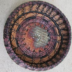 Pine Needle Basket with pottery center by somethin123 on Etsy, $40.00