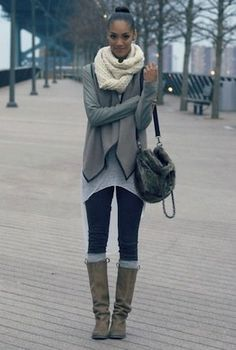 Love the knee high socks and boot combination, as well as the layering on top. Grey on grey