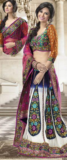 #Multicolor Faux Georgette A-line #Lehenga Choli @ $201.80