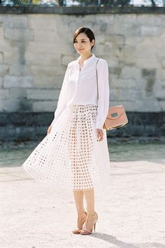 pretty outfit, love that skirt! #white